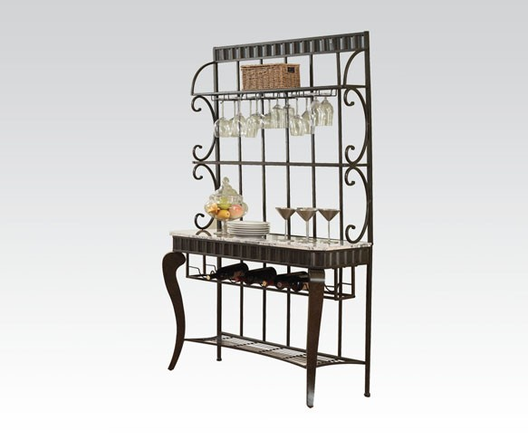 Lorencia Casual White Black Gold Marble Metal Bakers Rack ACM-70293