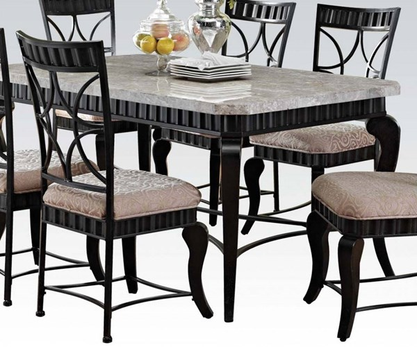 Lorencia Casual White Black Gold Marble Metal Rectangle Dining Table ACM-70294