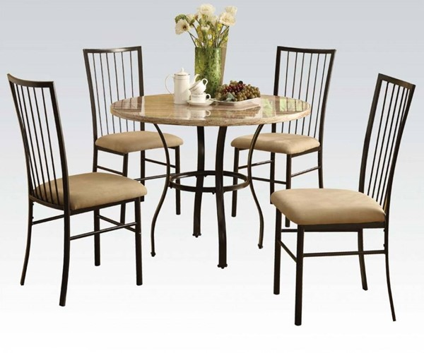Darell Casual White Faux Marble Metal Fabric 5pc Pack Dining Set ACM-70295