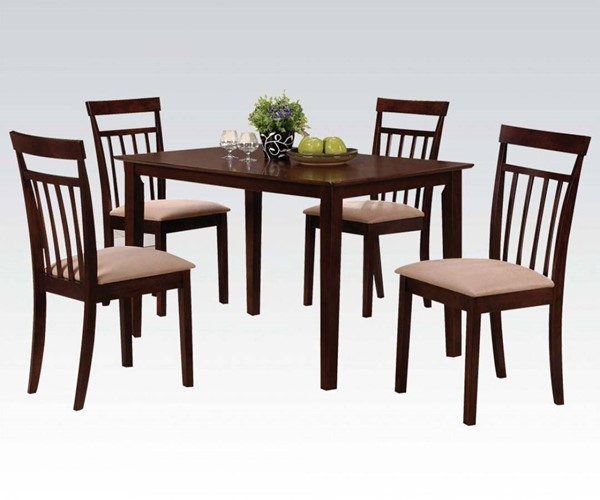 Samuel Casual Espresso Wood Fabric 5pc Pack Dining Set ACM-70325