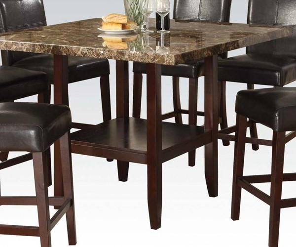 Idris Espresso Wood Faux Marble Square Counter Height Table ACM-70355