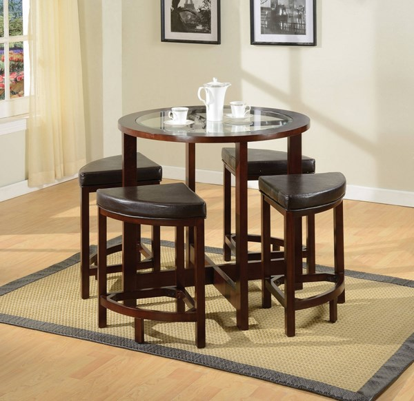 Patia Espresso Wood Glass Counter Height Table ACM-70360
