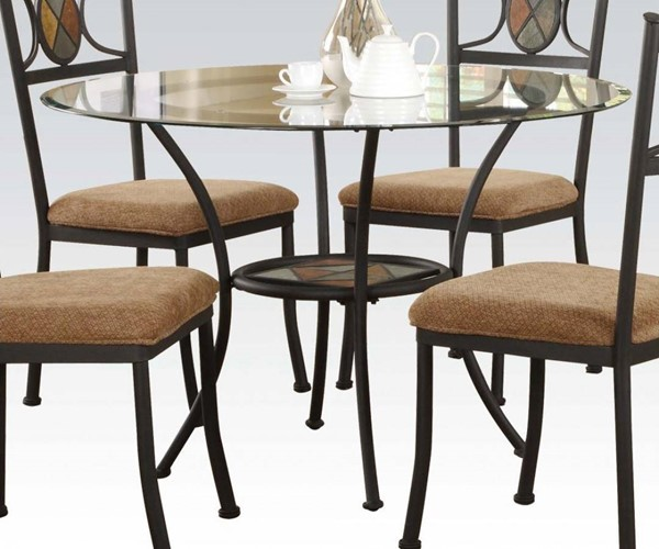 Desi Casual Slate Metal Glass Dining Table ACM-70365