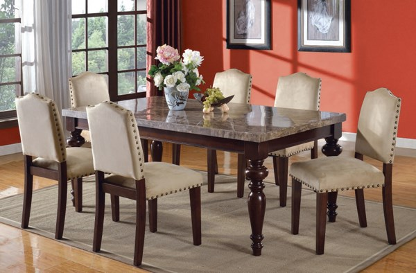 Bandele Casual Espresso Gary Wood Fabric Marble Dining Room Set ACM-70380-83-DR