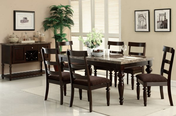 Bandele Casual Espresso Gray Wood Marble Fabric Dinning Room Sets ACM-70380-Set