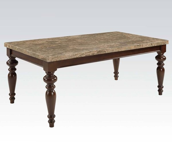 Bandele Casual Gray Espresso Wood Marble Dining Table ACM-70380