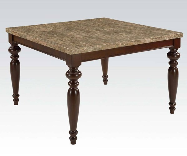 Bandele Gray Espresso Wood Marble Counter Height Table ACM-70385