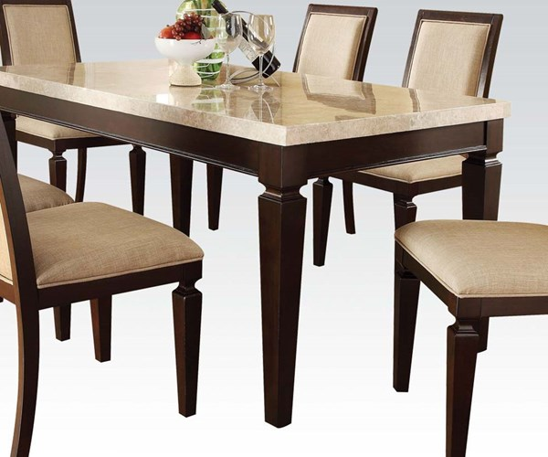 Agatha Casual White Espresso Wood Marble Dining Table ACM-70480