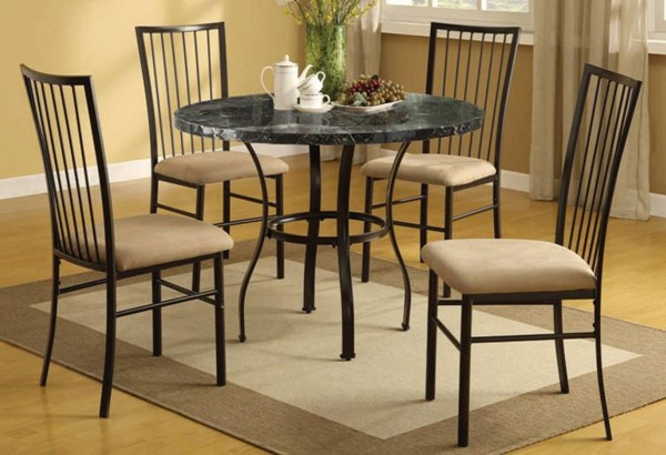 Darell Casual Black Faux Marble MDF Metal Foam 5pc Dining Set ACM-70495W