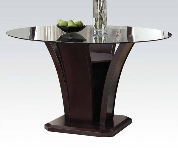 Malik Espresso Wood Glass Round Dining Table ACM-70500