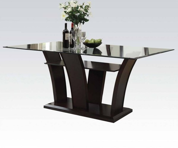 Malik Espresso Wood Glass Rectangular Dining Table