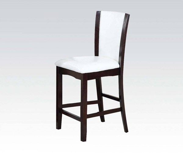 2 Malik White Espresso PU Wood Counter Height Chairs ACM-70512