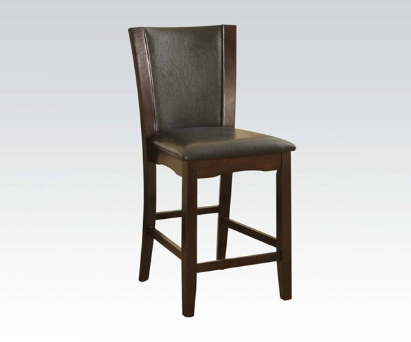 2 Malik Espresso PU Wood Counter Height Chairs ACM-70514