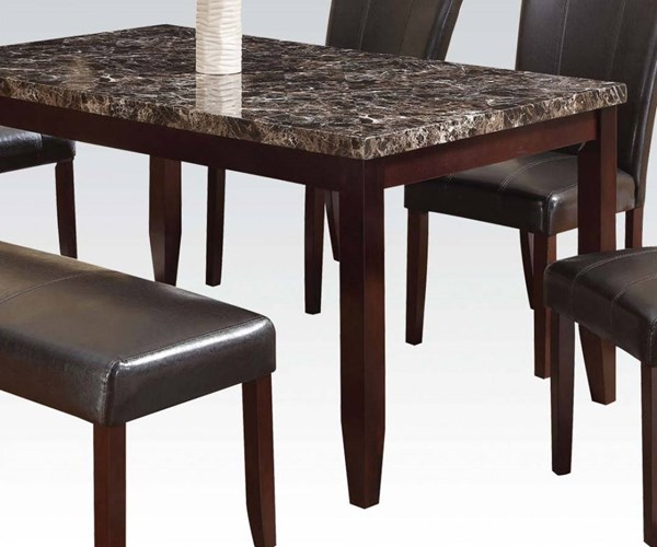 Idris Casual Espresso Wood Faux Marble Dining Table ACM-70520
