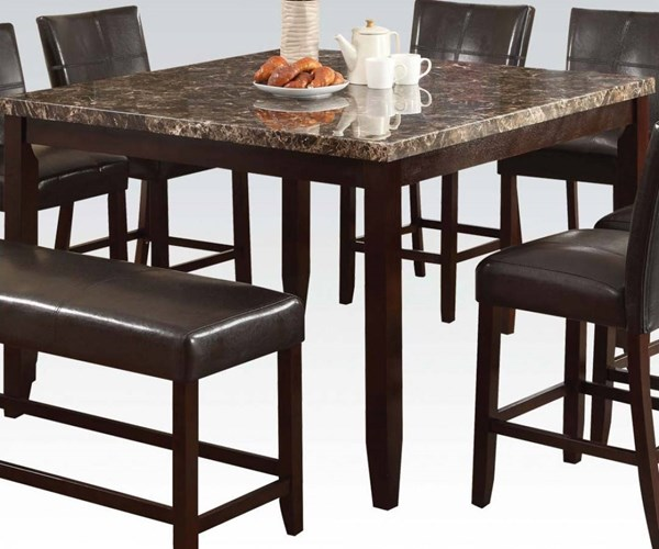 Idris Espresso Faux Marble Wood Counter Height Table ACM-70525