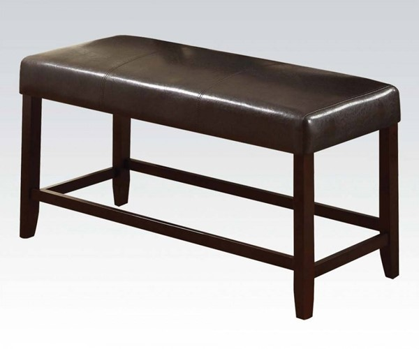 Idris Espresso Wood PVC Counter Height Bench ACM-70528