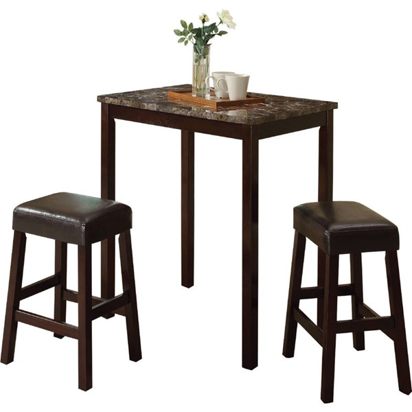 Acme Furniture Idris Espresso 3pc Counter Height Set The