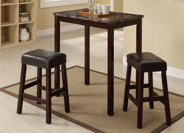 Idris Espresso Faux Marble Wood PU 3pc Pack Counter Height Set ACM-70540