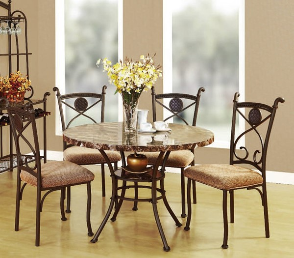 Kleef Casual Brown Faux Marble Fabric Metal 5pc Dining Set ACM-70555