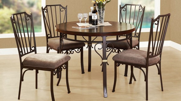 Barry Casual Walnut Wood Metal Fabric Dinning Room Sets ACM-70570-Set