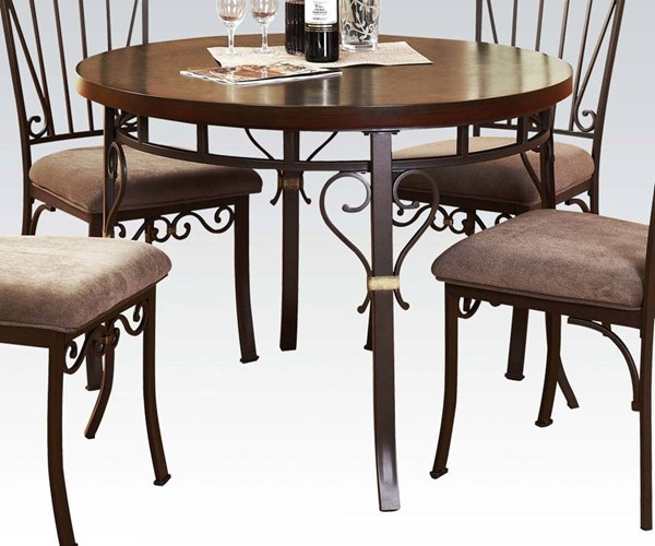 Barry Casual Walnut Wood Metal Dining Table ACM-70570