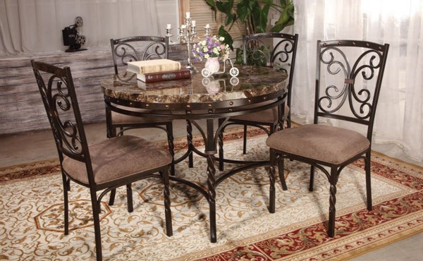 Burril Casual Metal Faux Marble Dining Table ACM-70584