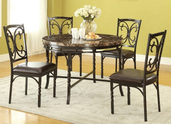 Burril Casual Faux Marble Metal PU 5pc Dining Room Set ACM-70584-86-DR-S