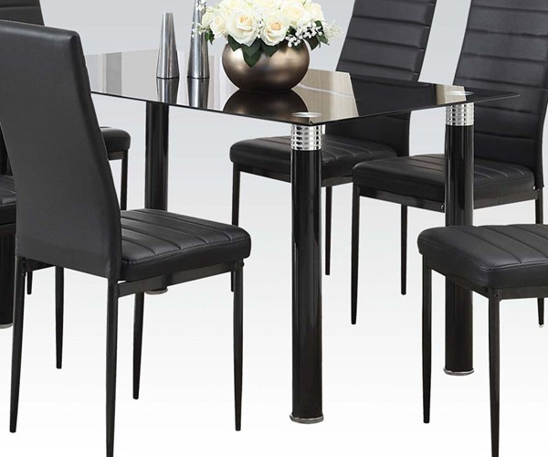 Riggan Casual Black PU Glass Dining Table ACM-70595