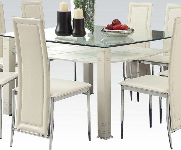 Riggan Casual Chrome Cream PU Glass Dining Table ACM-70610