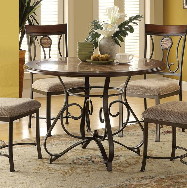Barrie Casual Cherry Oak Dark Bronze Metal Faux Marble Dining Table ACM-70640
