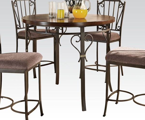 Barry Walnut Metal Wood Counter Height Table ACM-70690