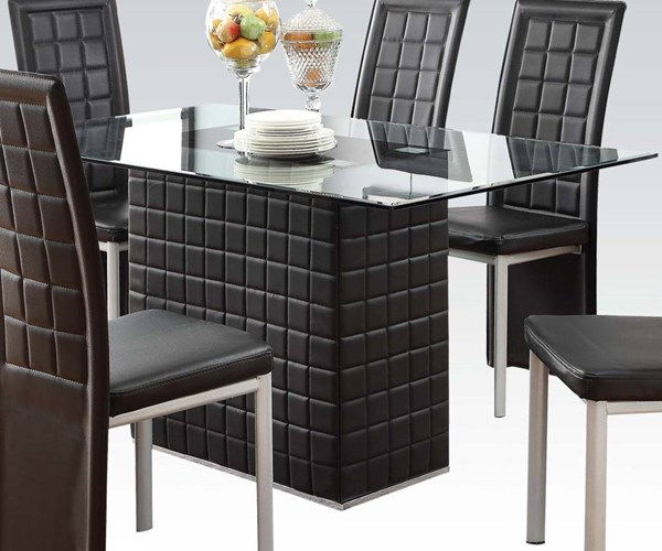 Abbie Casual Black PU Glass Rectangle Dining Table ACM-70714