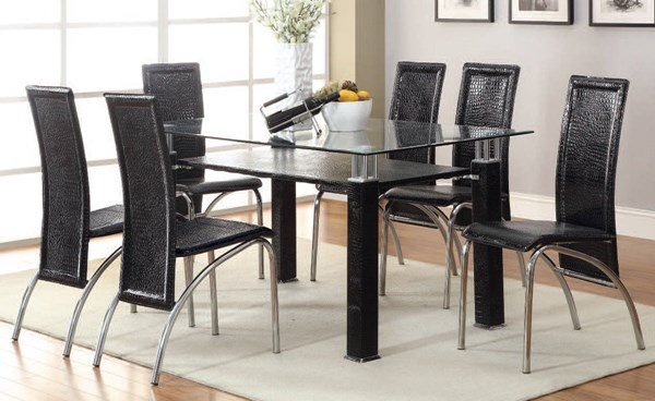 Toffy Casual Black Glass PU Metal Dining Room Set ACM-70722-24-DR