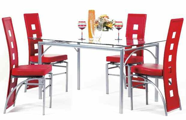 Kathie Casual Silver Black PU Metal Glass Dining Room Set ACM-70740-DR