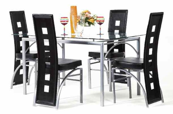Kathie Casual Silver Black PU Metal Glass 5pc Dining Room Set ACM-70740-S1