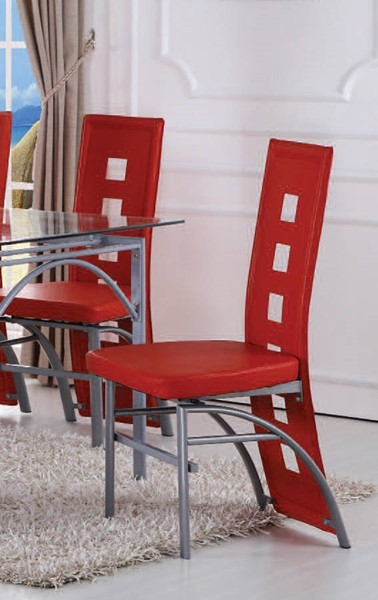 2 Kathie Casual Red Metal PU Side Chairs ACM-70744