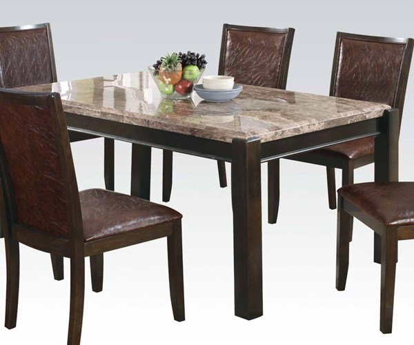 Dwayne Casual Gray Dark Walnut Marble Wood Dining Table ACM-70760