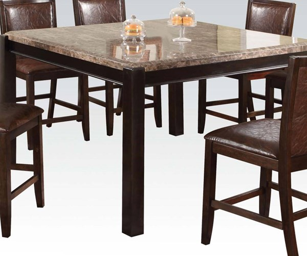 Dwayne Gray Dark Walnut Marble Wood Counter Height Table ACM-70765