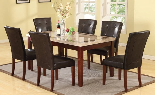 Earline Espresso Marble Wood PU 7pc Dining Room Set W/40 Inch Chair ACM-70772-07054-DR-S