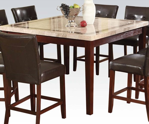 Earline White Brown Walnut Marble Wood Counter Height Table ACM-70774