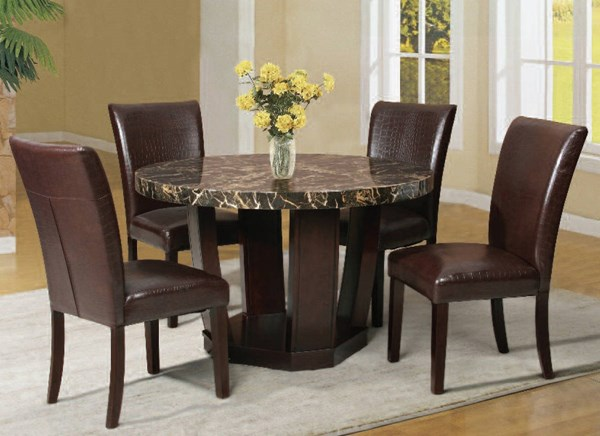 Adolph Casual Espresso Faux Marble Wood PU 5pc Dining Room Set ACM-70780-132-DR-S
