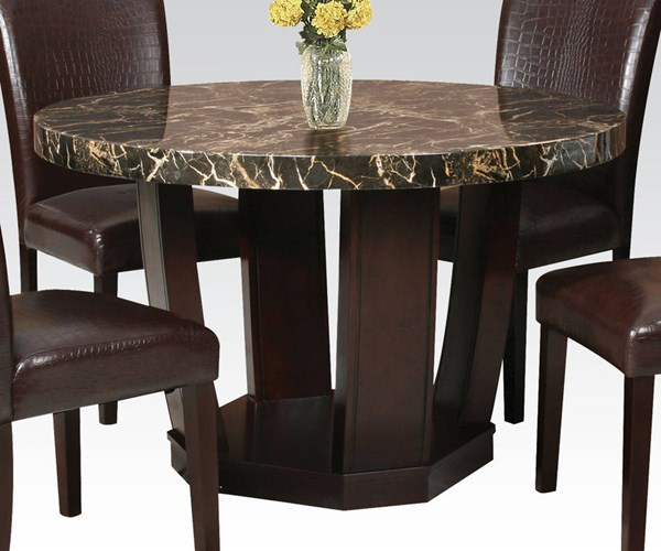 Adolph Casual Black Espresso Wood Faux Marble Dining Table ACM-70780