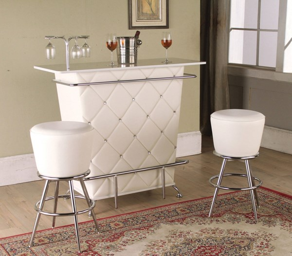Tashara Chrome White PU Metal 3pc Counter Height / Bar Set ACM-70940-S