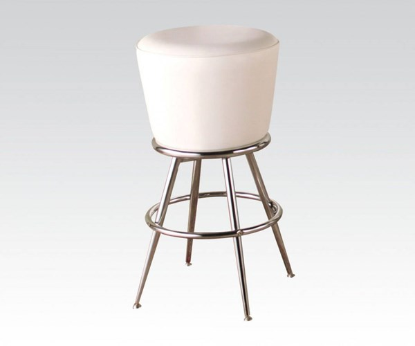 2 Tashara Chrome White PU Metal Swivel Bar Stools ACM-70942