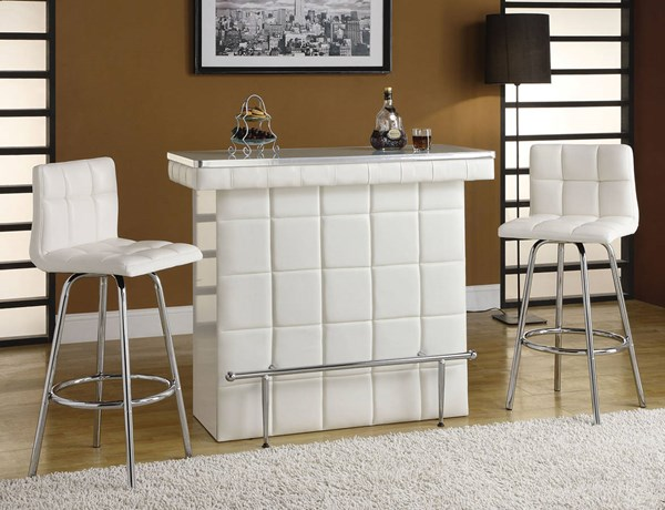 Ronni Chrome White Glass Steel PU 3pc Counter Height / Bar Set ACM-70945-S
