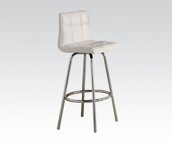 2 Ronni Chrome White Wood PU Swivel Bar Chairs ACM-70947