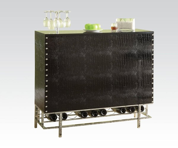 Gitel Chrome Black Wood PVC Metal Bar Table ACM-70950