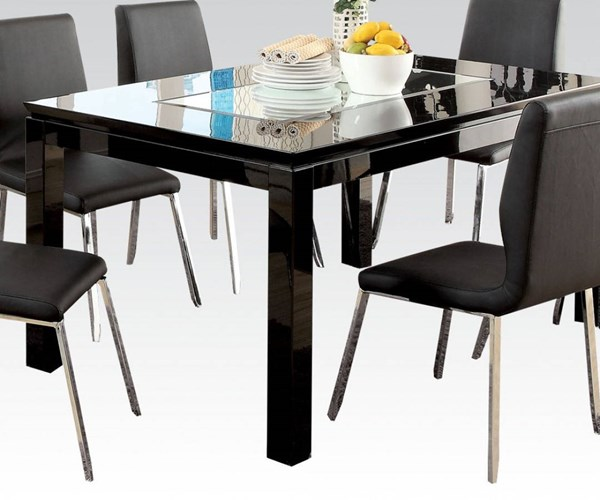 Prisca Casual Black Wood Rectangle Dining Table ACM-70985