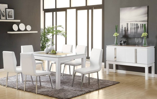 Kilee White Wood PU Chrome Metal 7pc Dining Table Set ACM-70990-S