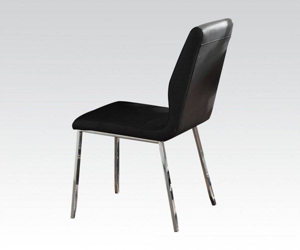 4 Prisca Casual Chrome Black Metal PU Side Chairs ACM-71007